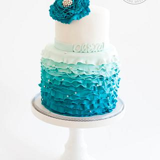 Ruffled Blue Ombre Cake