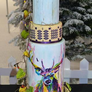 Whimsical forest wedding cake