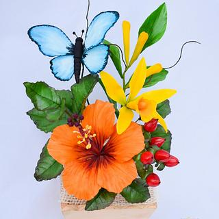 Tropical sugar flowers - Cake by Benny's cakes