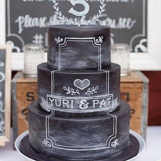 Pat and Yuri Chalkboard Cake