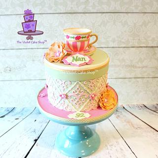 VINTAGE Teacup Cake with Hand Painted Rosettes