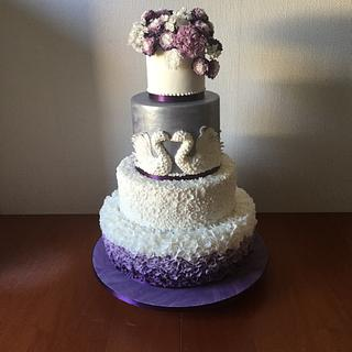White-purple wedding cake
