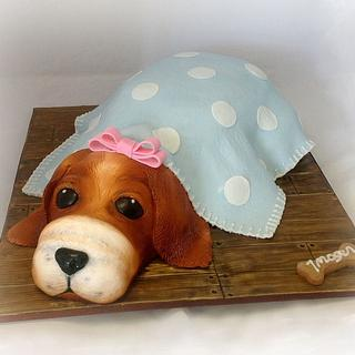 Imogen's puppy in a blanket cake