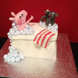My first ever cake! Peppa Pig in the bath!
