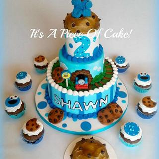 Cookie Monster and Thomas the Train Cake