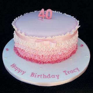 Pink ribbon and frills birthday cake.  - Cake by Mrsmurraycakes