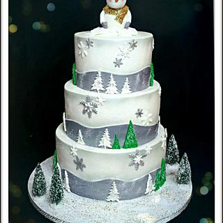 Winter wonderland baby shower cake!