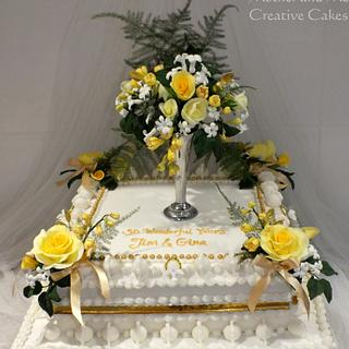 Gold Anniversay Replica Wedding Cake old school style!