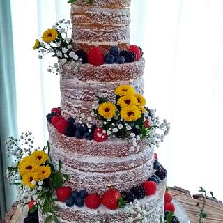 Sunny Yellow Naked wedding cake - Cake by Helen Alborn