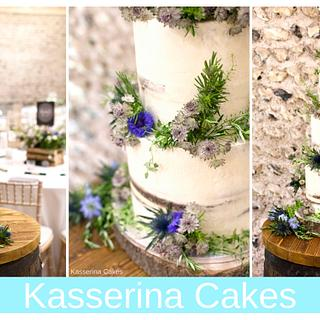 Semi-naked cake with meadow flowers