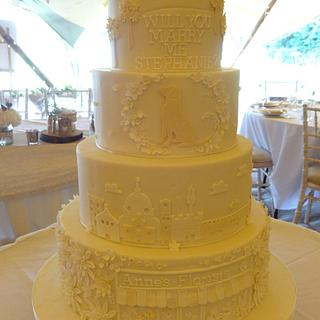 Steph and Dem's Story Wedding Cake