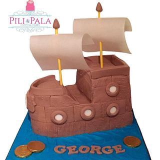3D pirate ship cake
