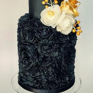 Black Rossette Ruffle cake