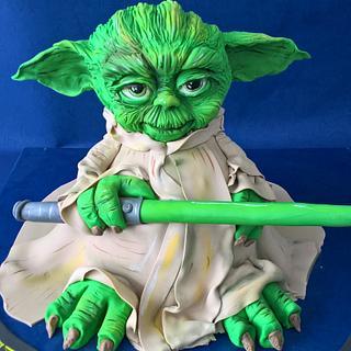 Yoda modeling cake