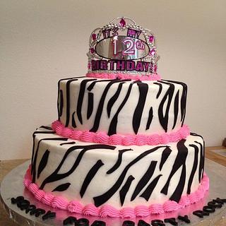 Zebra theme cake
