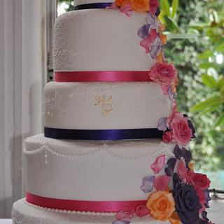 Cascading Roses Wedding CAke