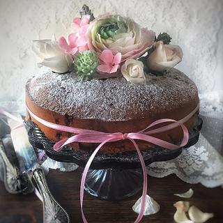 Plum Cake with Sugar Ranunculus