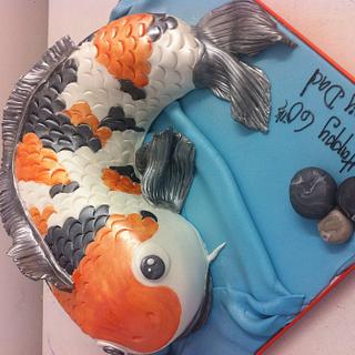 Koi carp fish shaped cake