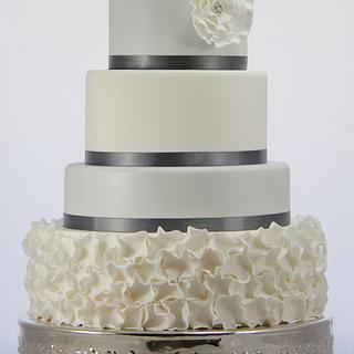 Silver and white ruffle wedding cake - Cake by Jo Kavanagh