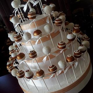 Bronze and white Wedding cake pops