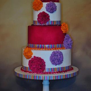 Pom-pom wedding cake - Cake by Victoria Forward