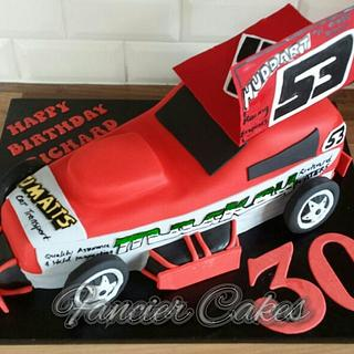 Stock car birthday cake - Cake by Fancier Cakes