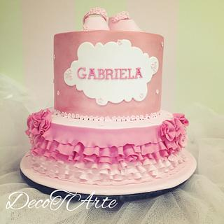 Shades of pink baptism cake (with little slippers)
