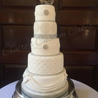 5 tier bling wedding cake