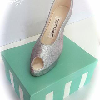 Shoe Box cake with Stiletto topper