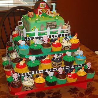 Barnyard Cupcake Tier with Barnyard Cake up Top