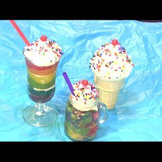 Mini Rainbow Cake Pop Milkshake and Ice  Cream Cone - Cake by DavidandNiko