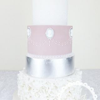 Cameo and silver leaf Wedding cake