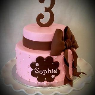 Pink and Chocolate birthday cake