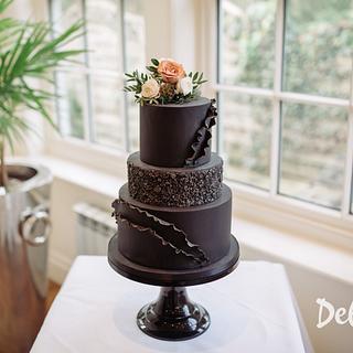 Black 3 tier wedding cake