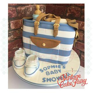 Blue Stripe Baby Bag with Converse Booties