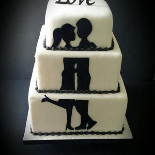 Silhouette Wedding Cake - Cake by LiliaCakes
