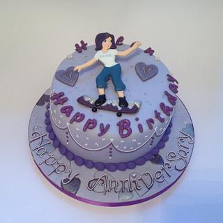 Skateboard chick - Cake by Rachel Bosley