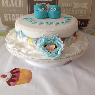 Christening cake with bumble bee baby - Cake by chaddy
