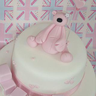 Pink hearts christening cake