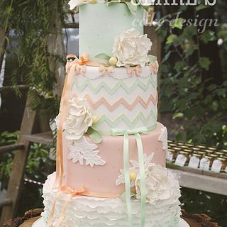 Peach and Mint Vintage Wedding Cake