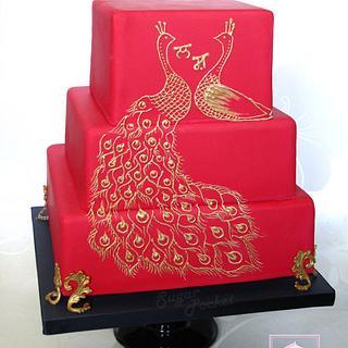 Peacock Elevated wedding cake