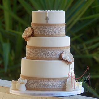 Burlap and lace Baptism cake