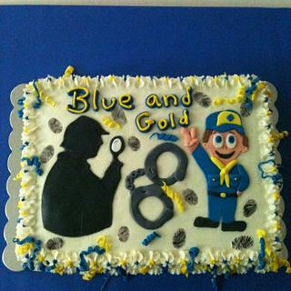 Blue and Gold Spy cake