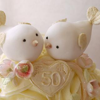 Love Birds 50th Wedding Anniversary Cake