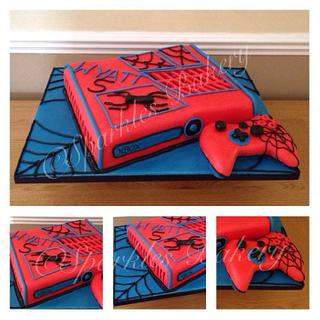 Spider-Man themed x box cake