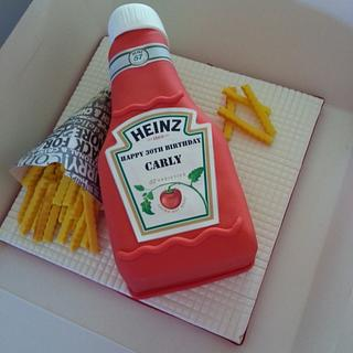 Heinz ketchup cake complete with handmade chips.
