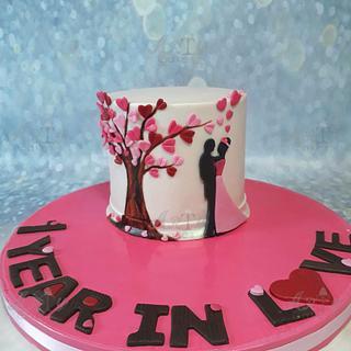 silhouette anniversary cake
