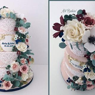 Flower and cake lace wedding cake
