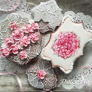 Pink flowers on lace