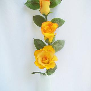 Gumpaste Roses (yellow with some dust of red)